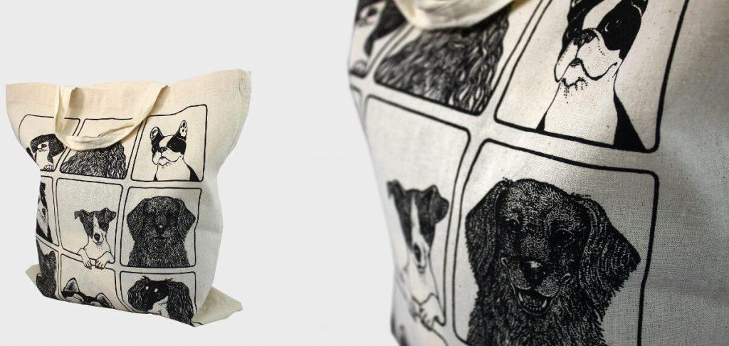 bolsa de tela con perros
